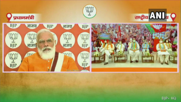 PM Modi addresses BJP workers from all over India on Pandit Deendayal Upadhyayas birth anniversary today