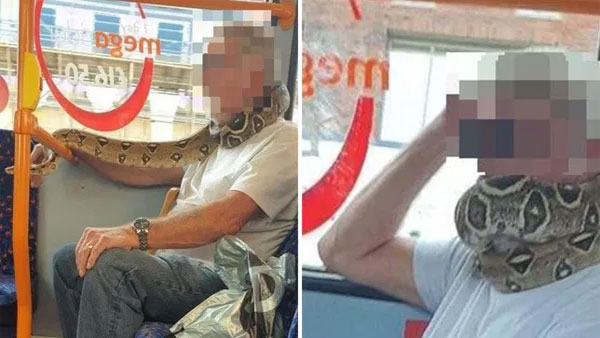 Man sports snake as face mask to beat coronavirus