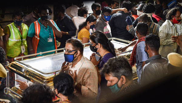 Mourners from all walks of life flock SPB's home to pay homage