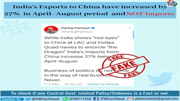 Fake: India's import to China has not increased by 27 per cent