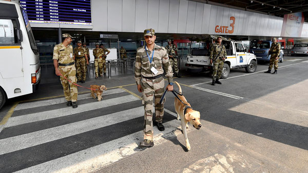 Security personnel at the revamped Terminal 2 of the Indira Gandhi International Airport in New Delhi