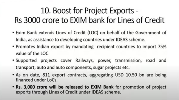 Boost for project exports: