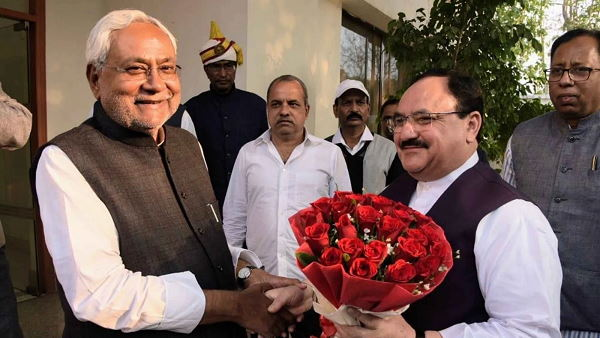 Nitish Kumar with JP Nadda