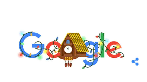 Google Doodle celebrates New Year's eve with twinkling lights and confetti poppers