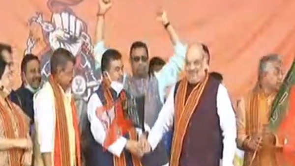 West Bengal political heavyweight Suvendu Adhikari joins BJP at Amit Shahs rally in Midnapore