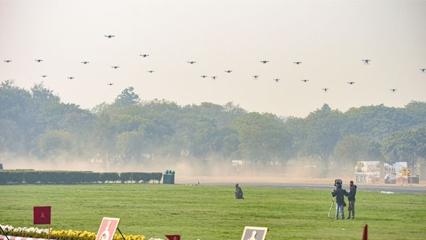 Drones on display for the first time during the 73rd Army Day Parade, at Army Parade Ground in New Delhi