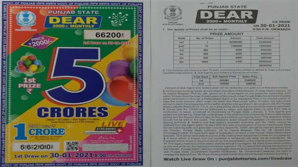 Punjab State Lottery Dear 2000+ monthly lottery 2021 prize scheme, draw date, how to buy
