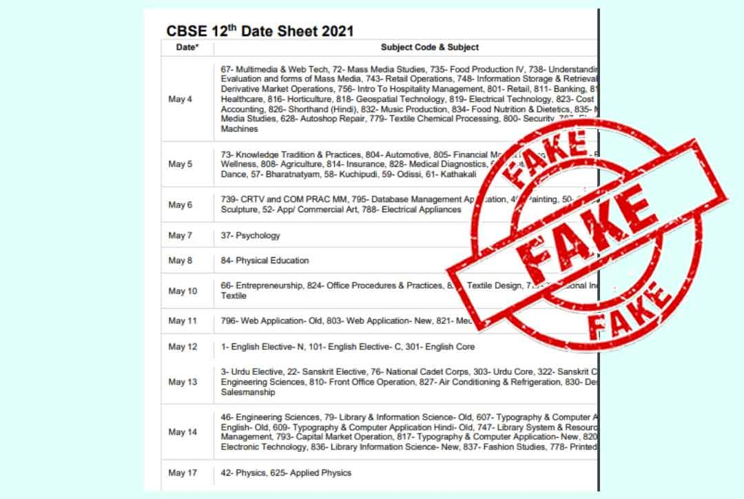 Fake: CBSE has not issued this date sheet for Class 10, 12 exams