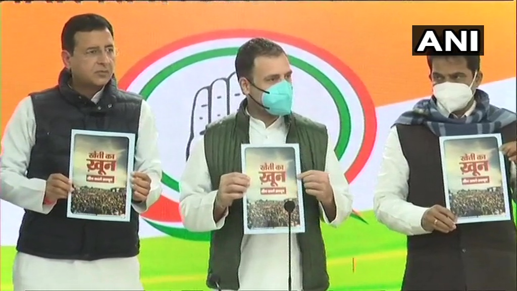 Rahul Gandhi releases booklet over Farm Laws at party headquarters in Delhi