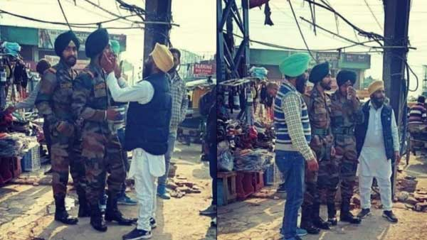 Fake: This soldier did not rush to Delhi border to meet father protesting against farm laws