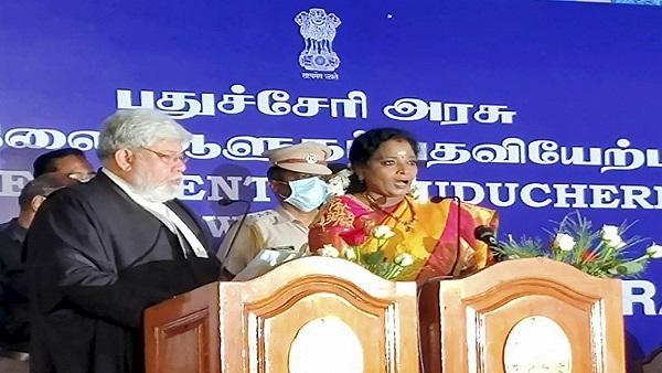 Telangana Governor Tamilisai Soundararajan sworn in as Puducherry Lt Governor