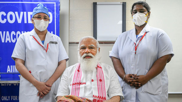 Didn't even realise: PM after taking first vaccine shot