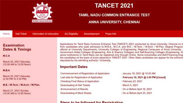 TANCET Admit Card 2021 to be released today