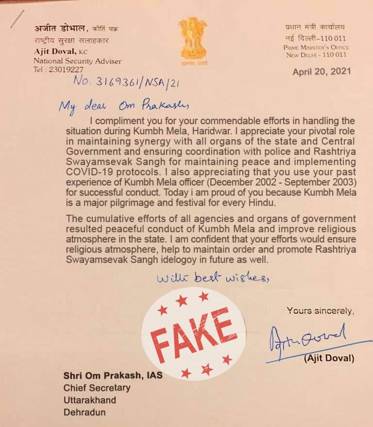 Prashant Bhushan circulates fake letter of NSA Doval complimenting Uttarakhand CM on Kumbh Mela