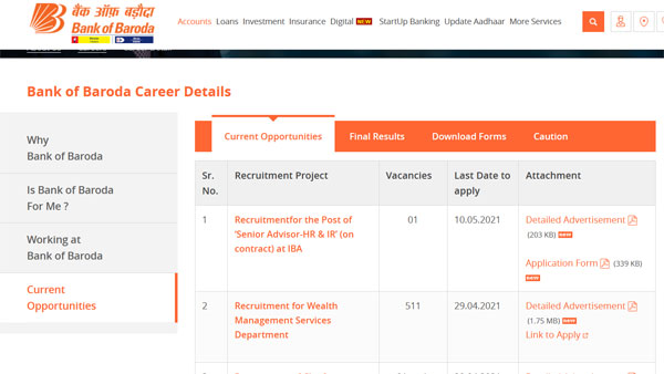 Bank of Baroda Recruitment 2021 registration: Last day to apply tomorrow