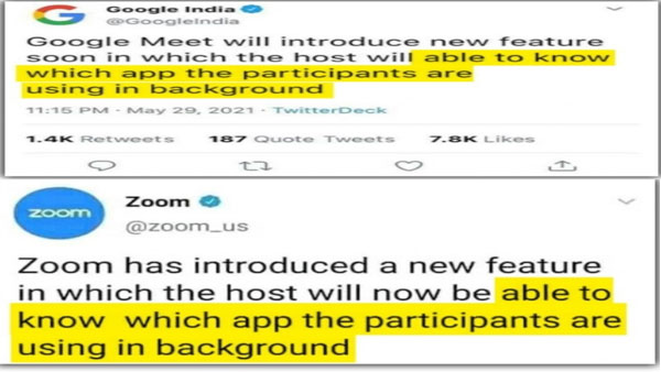 Fake: Google Meet, Zoom have not added feature letting host know what app participants use in background