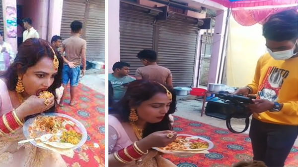 This video of woman caught eating food with hands at wedding will make you laugh