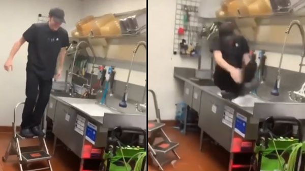 Video of employee diving in kitchen sink to celebrate last day of work viral on social media