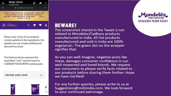 Fact check: Does Cadbury chocolates sold in India contain beef?