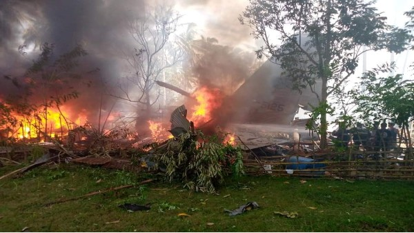 Philippine C-130 military plane carrying 80 people crashes; 40 rescued