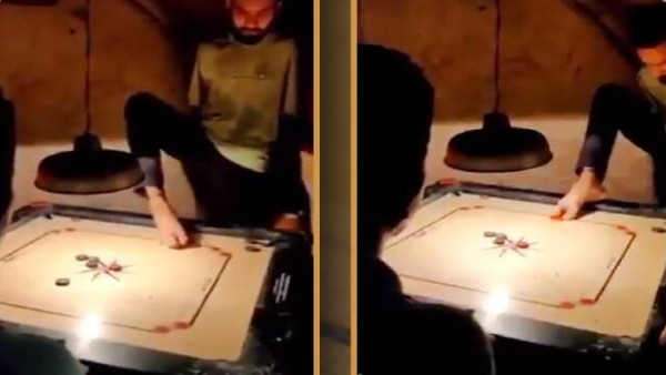 Viral video: Specially-abled man play carrom with toes, strikes super shots; Netizens left in awe