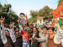 Photos: Congress Supporters Celebrate Party's Victory