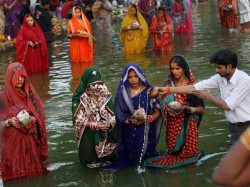 Of Devotees Celebrating Chhath Puja Flock To Ghats