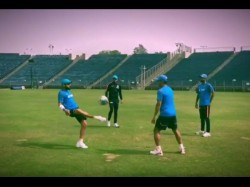 See Video Virat Kohli Ms Dhoni Play Football Before Hitting The Nets