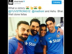 Virat Kohli Shares Adorable Selfie With Veterans Ms Dhoni Ashish Nehra Bengaluru