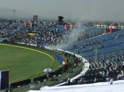 st Test Fire At Stadium Halts Play On 2nd Day Pune