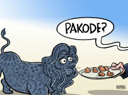 Pakode Offering Famished Looking Make India Lion