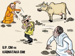 Yogi Siddaramaiah Throw Gobar At Vikas