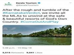 Kerala Tourism Tweet Inviting Karnataka Mlas Deleted