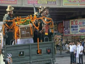 Standing on streets, people of Kanpur, UP, salute as body of Captain Ayush Yadav arrives home