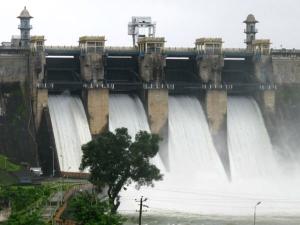 Harangi reservoir filled to capacity, crest gates opened