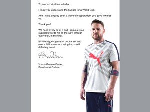 Mccullum Requests India S Billion Voices To Root For Nz Wc Final