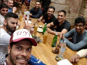 Champions Trophy Team India Dine After Win Against New Zealand Warm Up Match