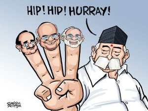 Victory Notes Hip Hip Hooray Rss Cheers As Bjp Captures