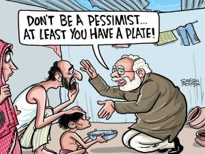 Modi Paints Rosy Picture Economy Times Crisis