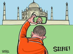 In Yogi S Selfie Front Taj Mahal The Mughal Wonder Goes Mis