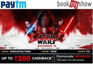Star Wars Fans The Last Jedi Tickets Upto Rs 200 Cashback
