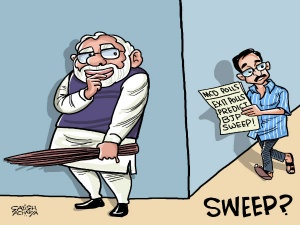 BJP snatches away <i>jhadu</i> from AAP; likely to sweep Delhi MCD elections