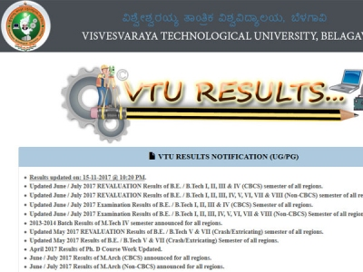 VTU results 2017 for Be, BTech, BArch released, download now
