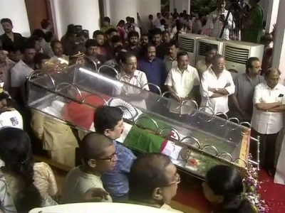 Karunanidhi lies in state with his first
