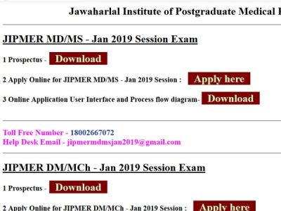 JIPMER PG admissions 2019 full schedule