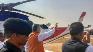 Chhattisgarh Chief Minister Raman Singh Greets His Supporters During A Campaign