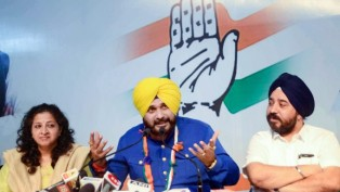 Congress Leader Navjot Singh Siddhu Addresses A Press Conference During An Election Campaign