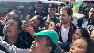 Congress President Rahul Gandhi Obliges His Supporters For Selfies During An Election Rally