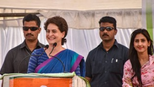 Congress general secretary Priyanka Gandhi Vadra addresses a public meeting