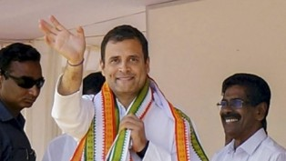 Congress President Rahul Gandhi Waves To The Crowd During An Election Campaign Rally
